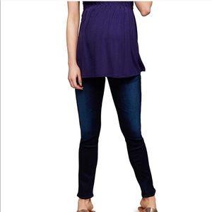AG dark blue skinny control top maternity jeans
